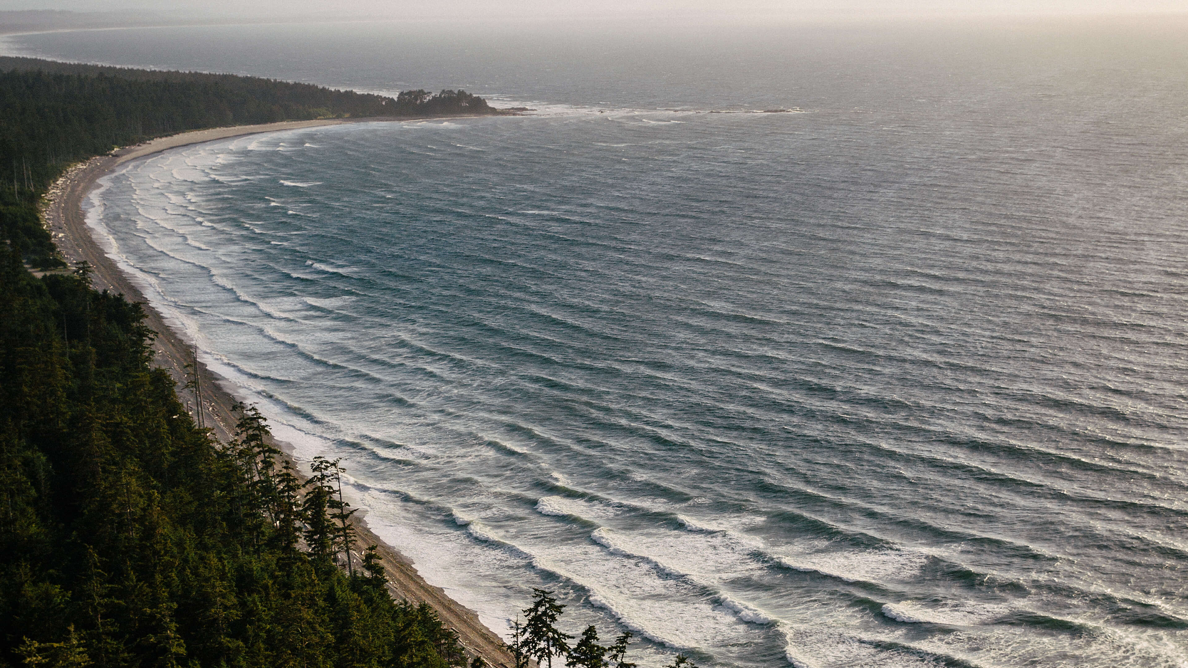 The view of Agate Beach from Tow Hill in Naikoon Provincial Park, Haida Gwaii, near sunset.