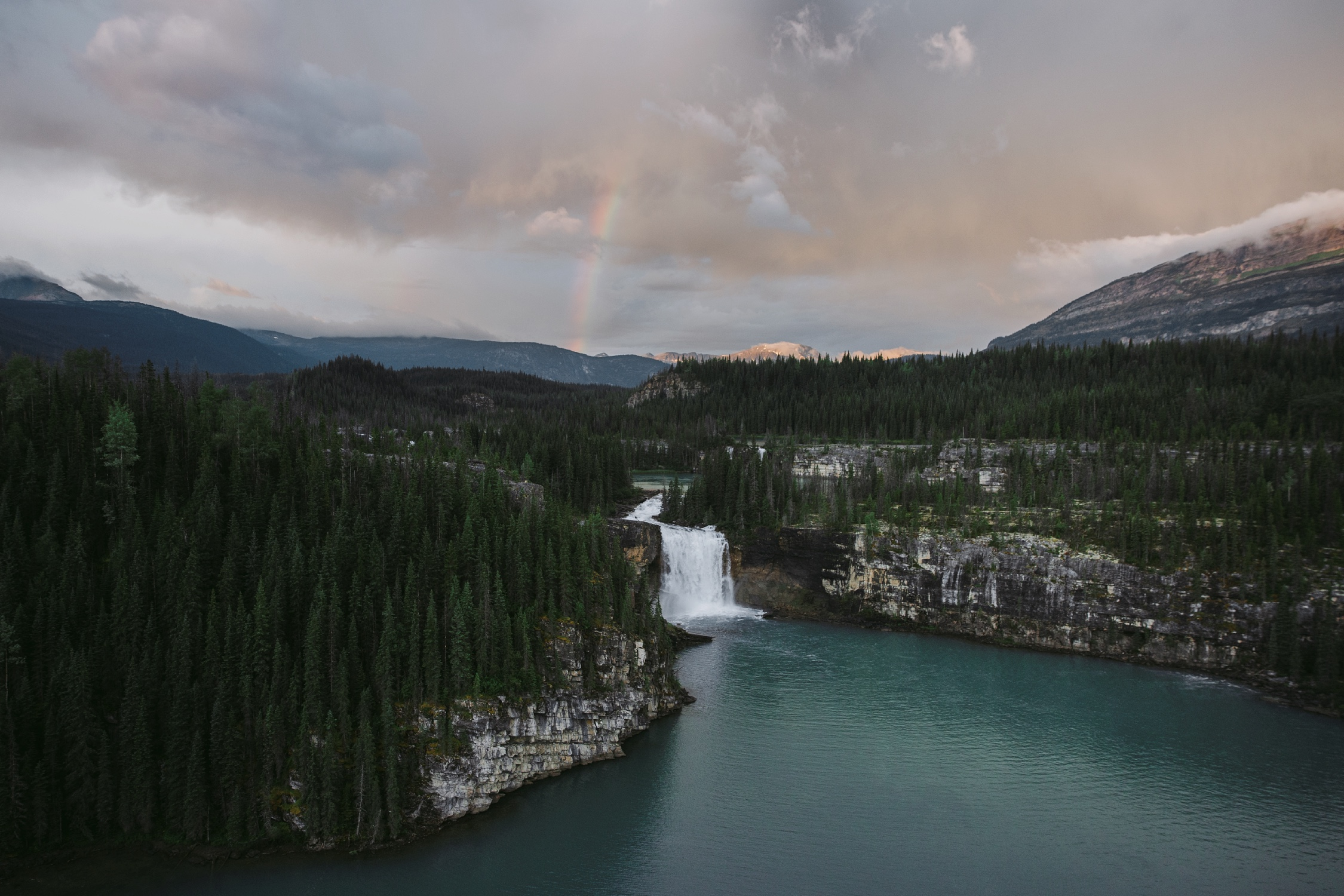 Brooks Falls in the foreground, Shire Falls in the background, Monkman Provincial Park, Tumbler Ridge UNESCO Global Geopark